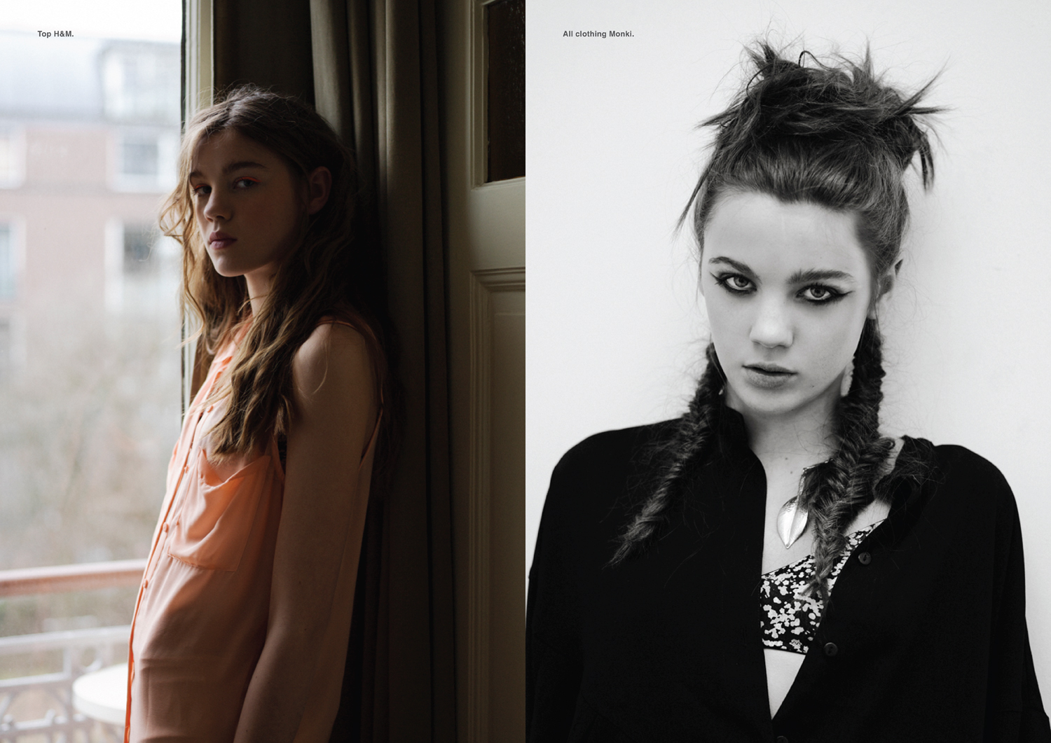 Left page, Top H&M. Right page, All clothing Monki.