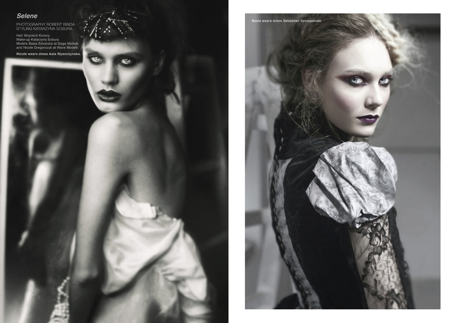 Left page, Nicole wears dress Asia Wysoczynska. Right page, Basia wears dress Sebastian Szczepanski.