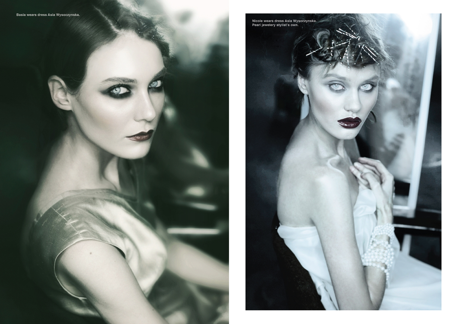 Left page, Basia wears dress Asia Wysoczynska. Right page, Nicole wears dress dress Asia Wysoczynska. Pearl jewelery stylist's own.