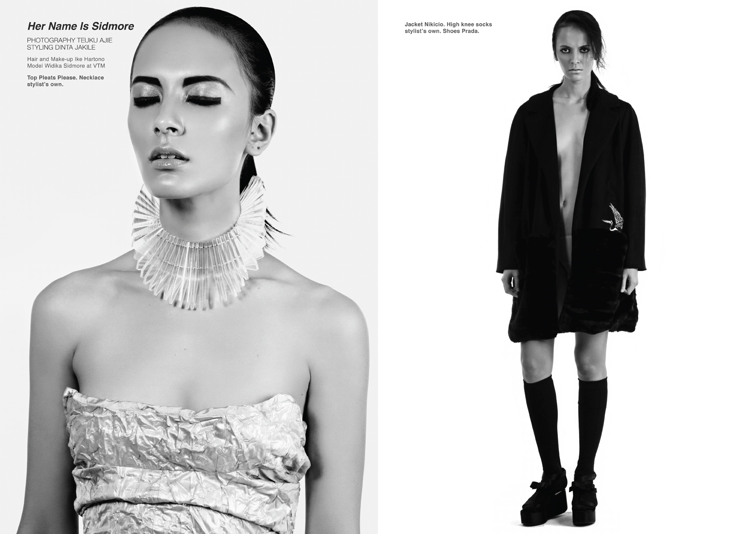 Left page, Top Pleats Please. Necklace stylist's own. Right page, Jacket Nikicio. High knee socks stylist's own. Shoes Prada.