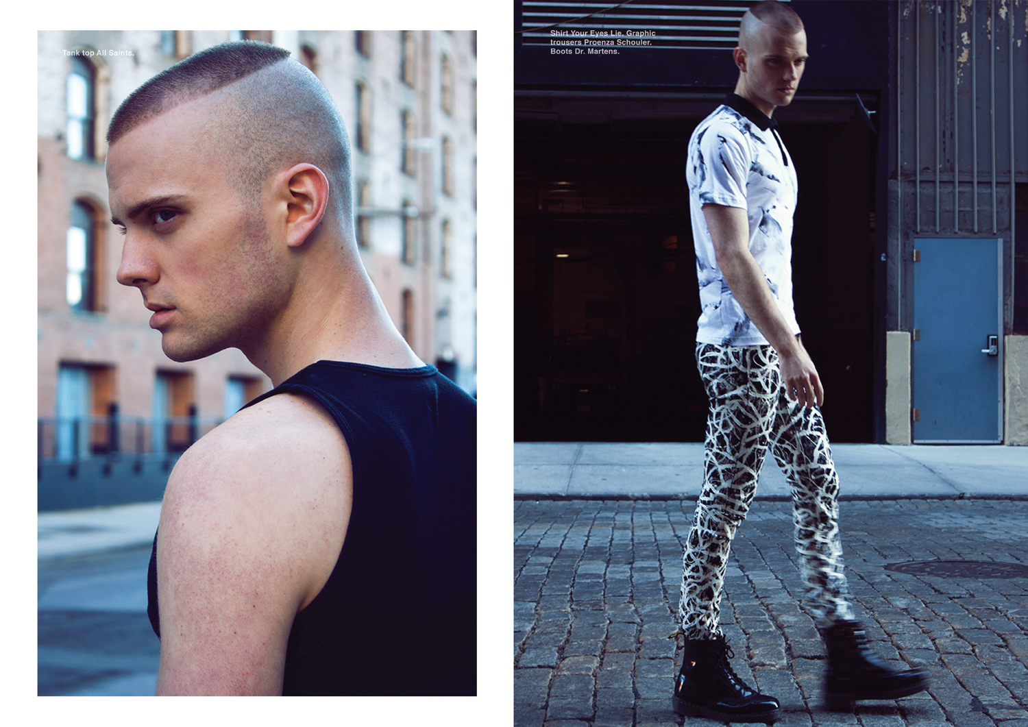 Left page, tank top All Saints. Right page, shirt Your Eyes Lie. Trousers Proenza Schouler. Boots Dr. Martens.