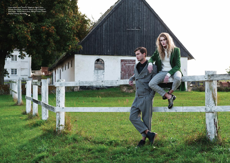 Lars wears suit Henrik Vibskov. Shirt Zara. Shoes Soulland. Amalie wears coat Filippa K. Suit and turtle neck Zara. Rings Trine Tuxen. Shoes Cheap Monday.