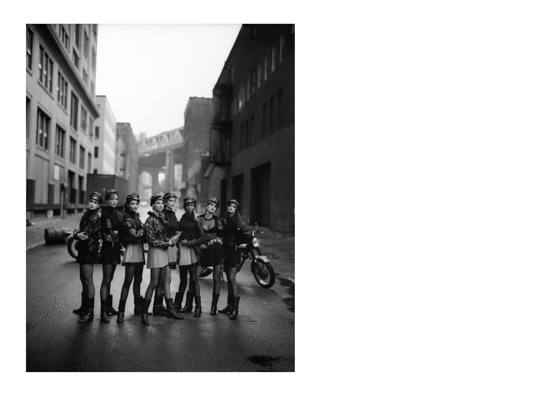 Cindy Crawford, Tatjana Patitz, Helena Christensen, Linda Evangelista, Claudia Schiffer, Naomi Campbell, Karen Mulder, Stephanie Seymour, Brooklyn, New York, USA , 1991. © Peter Lindbergh Courtesy Gagosian Gallery