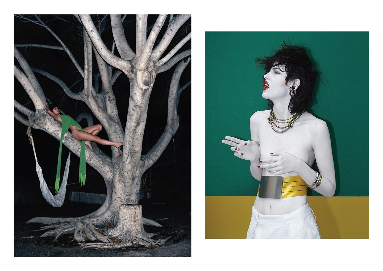 Left page, Viviane Sassen for Purple Magazine Spring/Summer 2004. Right page, Viviane Sassen for Acne Studios Spring/Summer 2014.